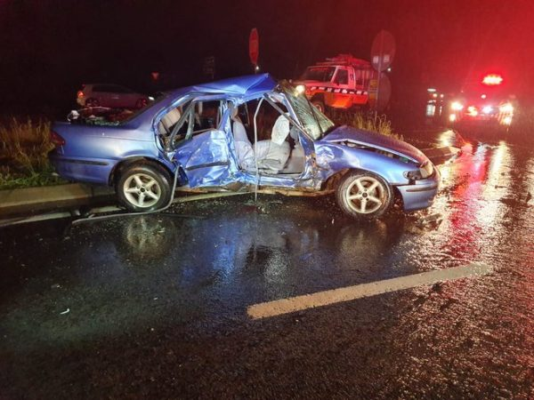 Just In:-Four injured in two-vehicle collision.