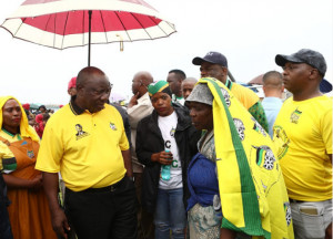 President Ramaphosa in muddy shoes as he visits rain-soaked and potholed Northern Cape town