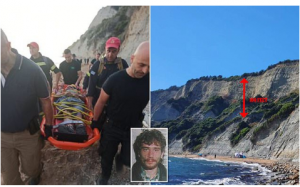Serial rapist dubbed 'the Beast of Kavos' falls 100ft off a cliff and breaks his back while fleeing police in Greece