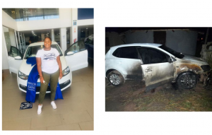 South African lady devastated as unknown 'jealous' persons set her brand new car ablaze weeks after showing it off on Facebook